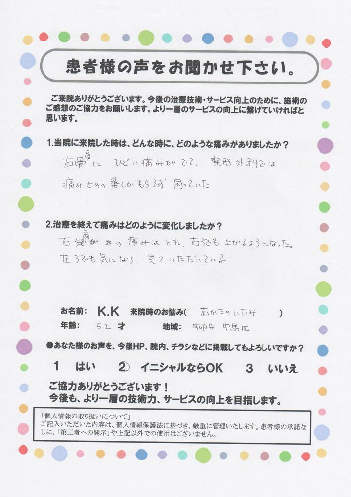 K.K様 右肩の痛み 52歳 柳井市中馬皿